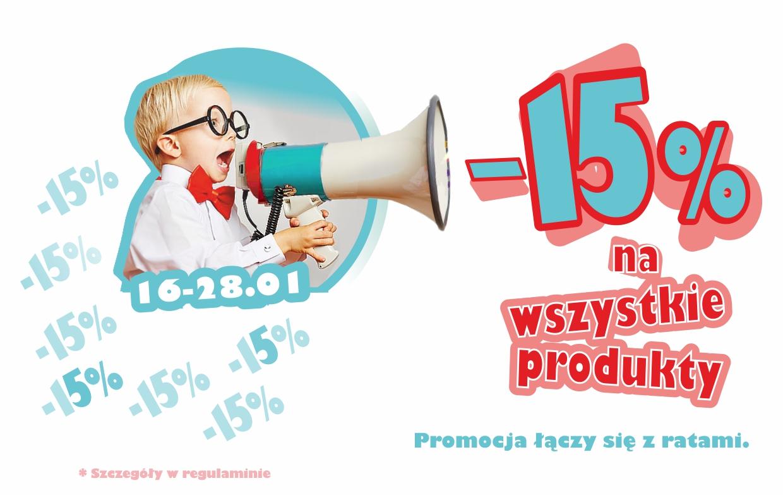 -15% na wszystkie produkty  z firmy MEBLIK